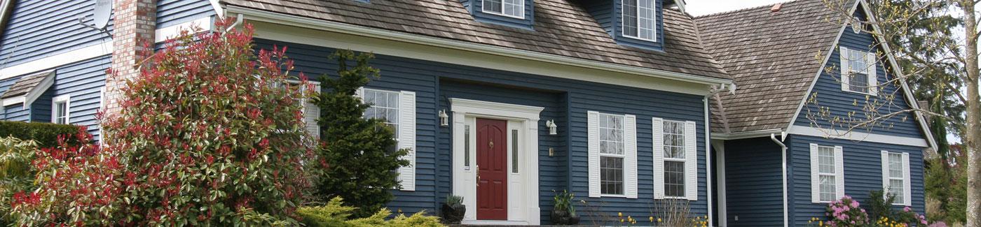 Residential Neighborhood Blue Home title=